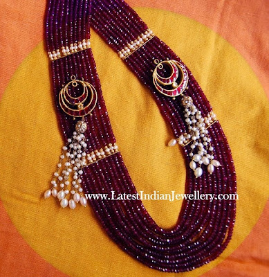 ruby beads kantha necklace