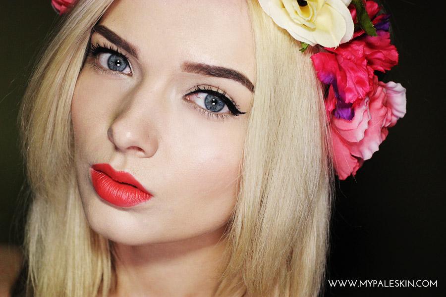 summer make up flower crown pale skin blogger
