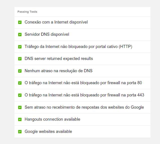 Diagnóstico de Conexão do Chrome