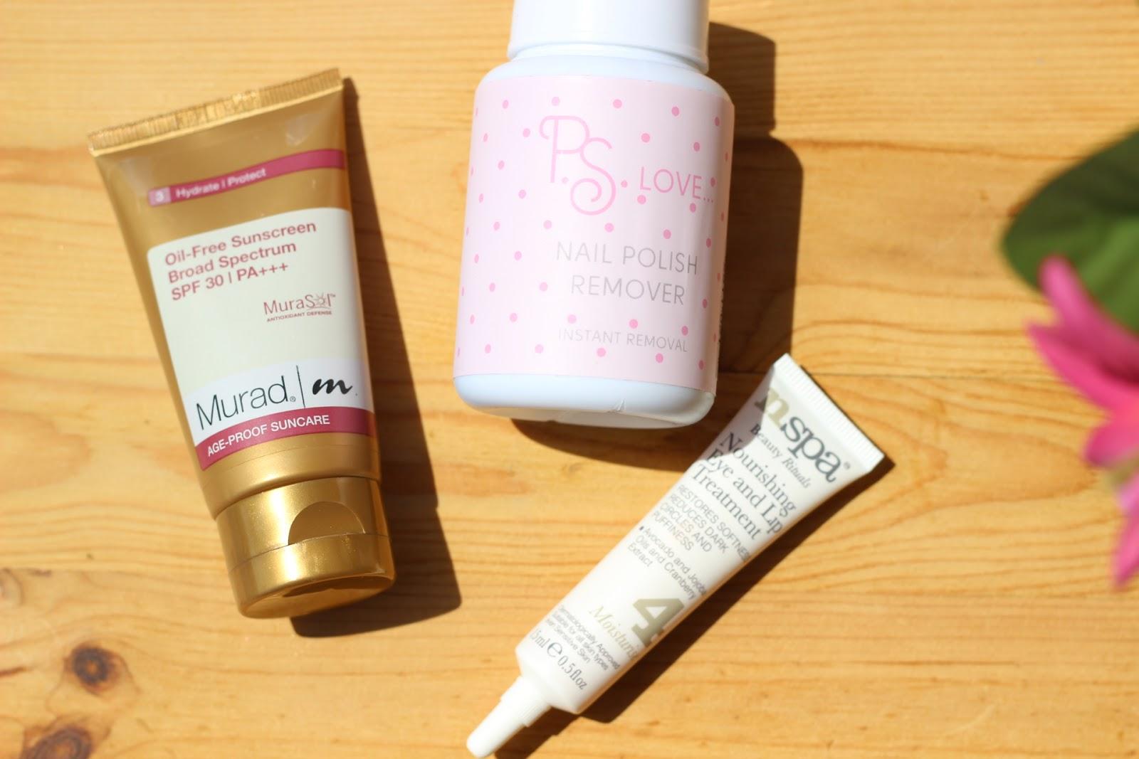 sunscreen, nail polish remover, eye cream