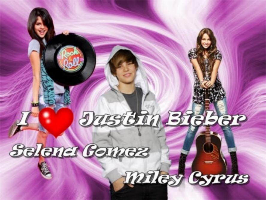 Justin,Selena y Miley