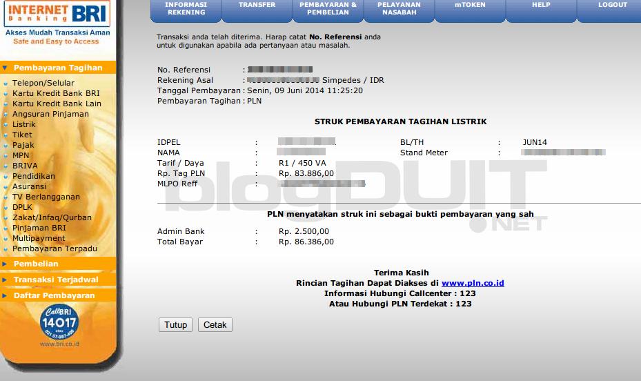 Cara Bayar Tagihan Listrik PLN Via BRI Internet Banking