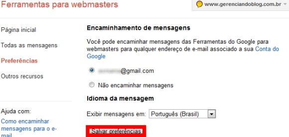 Inscrição nas ferramentas para webmasters