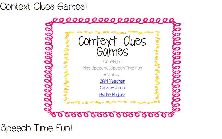 math worksheet : context clues games!  speech time fun : Context Clues Worksheets Multiple Choice
