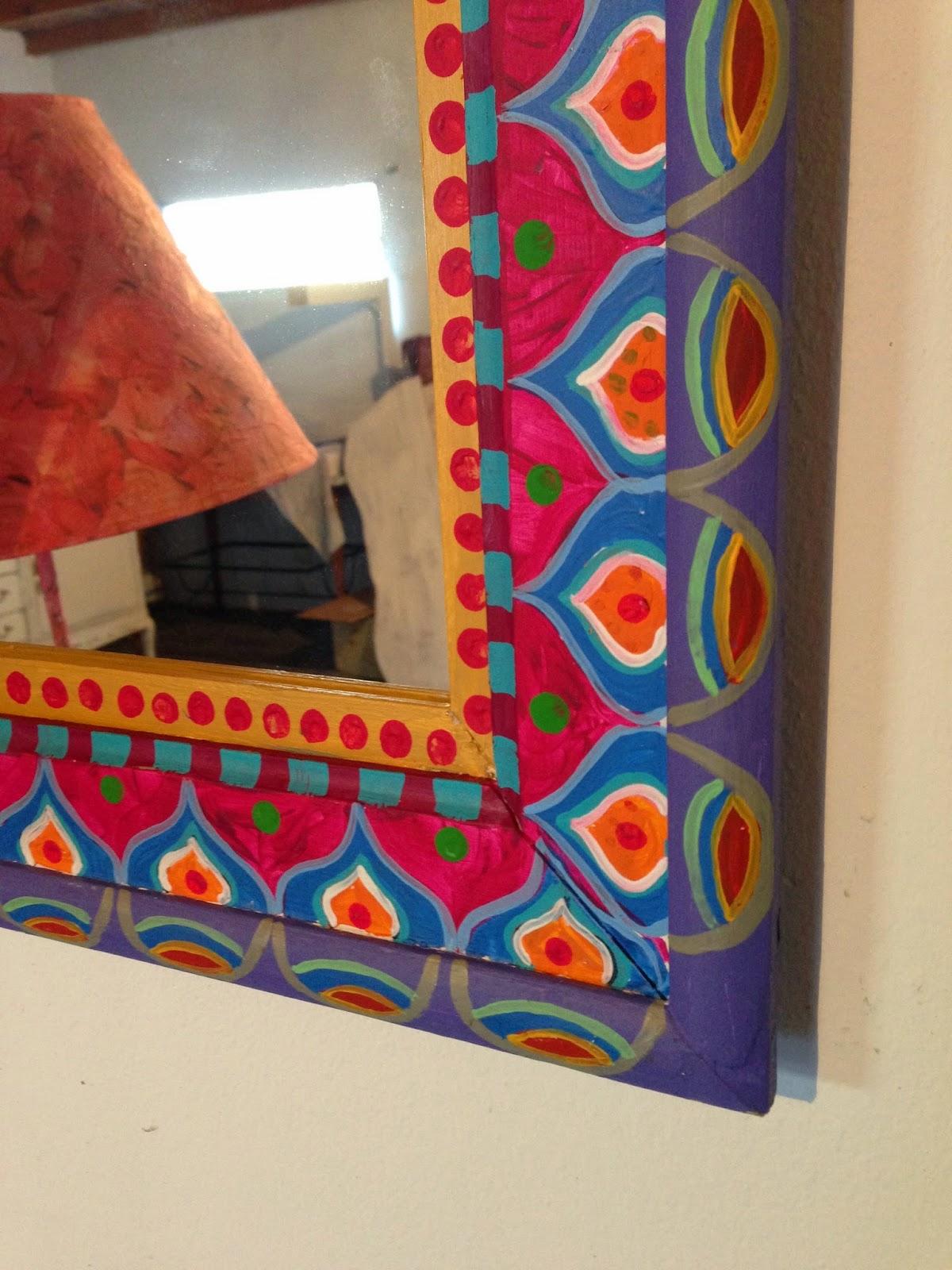Vintouch muebles reciclados pintados a mano espejo - Espejos decorados a mano ...