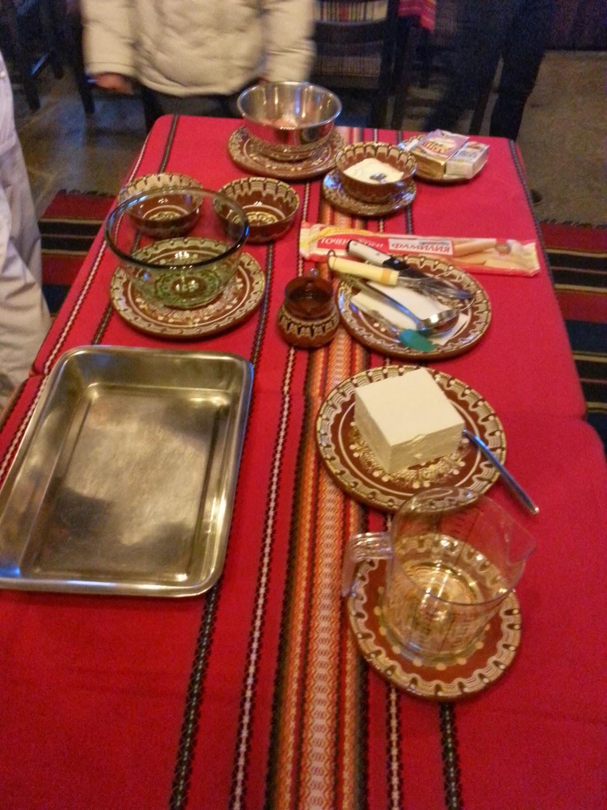 table set for Banitsa preparation