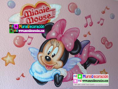 Mural Infantil Terminado de Mimie Mouse realizado por MuralDecoracion