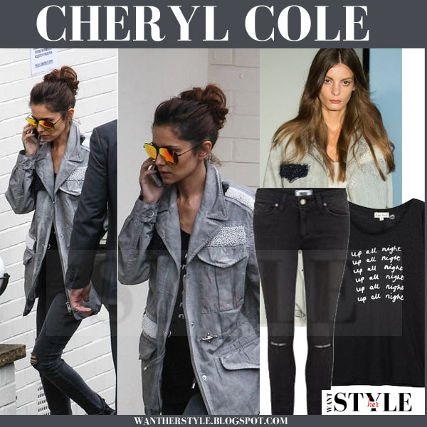Cheryl Cole in grey canvas jacket with black ripped knee skinny jeans what she wore streetstyle