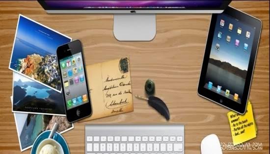 Apple desk busy guys table