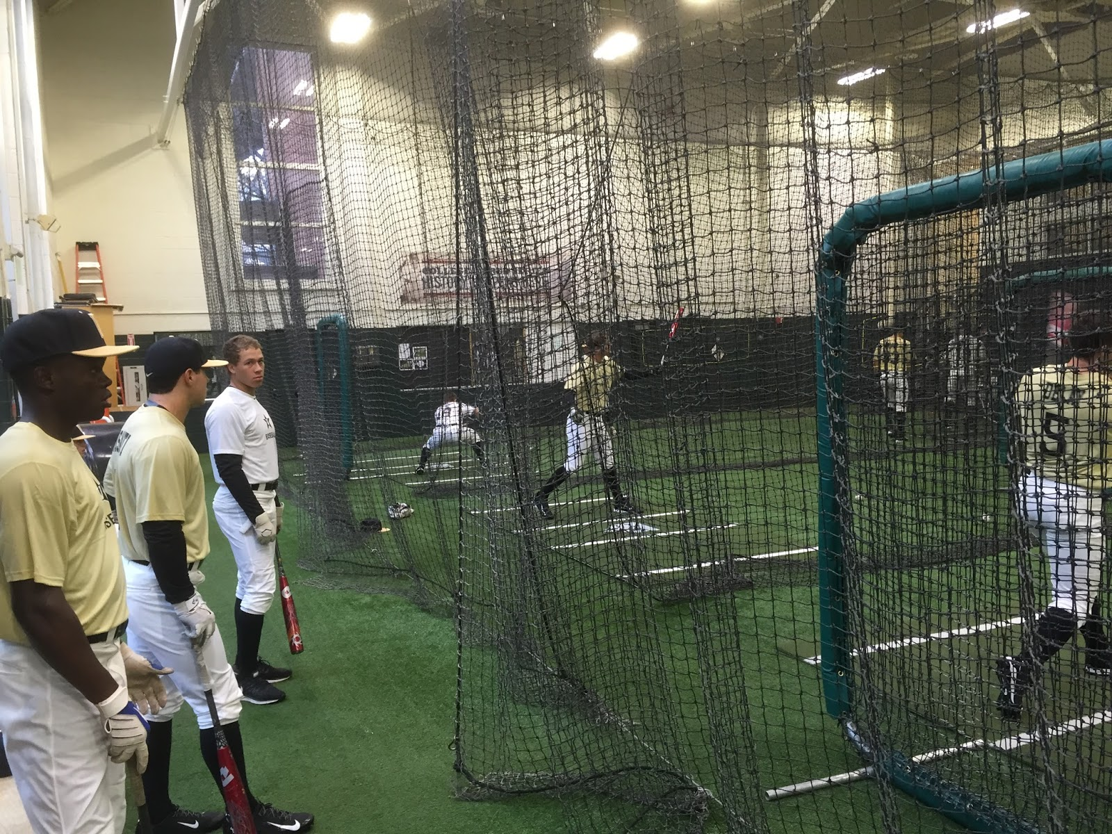 The Batting Cages. Indoor Pre Intersquad Game, On A Rainy Day.