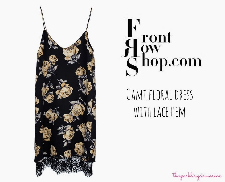 FrontRowShop.com FrontRowShop Cami floral dress with lace hem Vestito Pizzo Orlo saldi invernali 2014