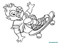 Gambar Simon Chipmunks Bermain Skateboard Untuk Diwarnai Anak