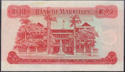 Mauritius 10 Rupees 1967 P# 31c