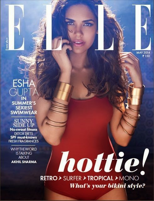 Esha_Gupta-in-Sexy-Red-Bikini-on-Elle-Magazine-Cover
