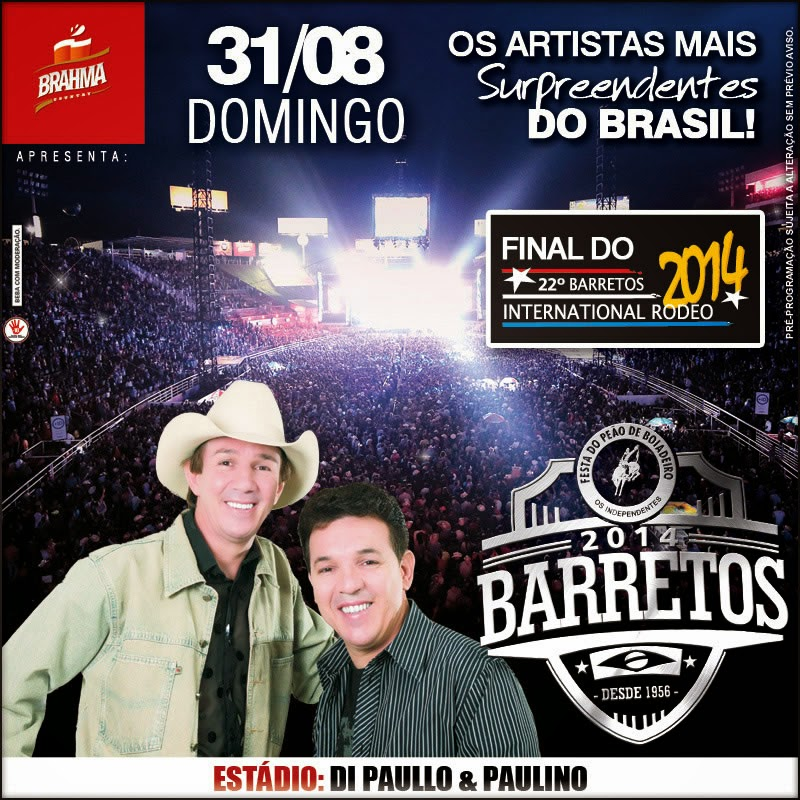 Programa��o da 59� Festa do Pe�o de Barretos 2014 - Dia 31/08/2014