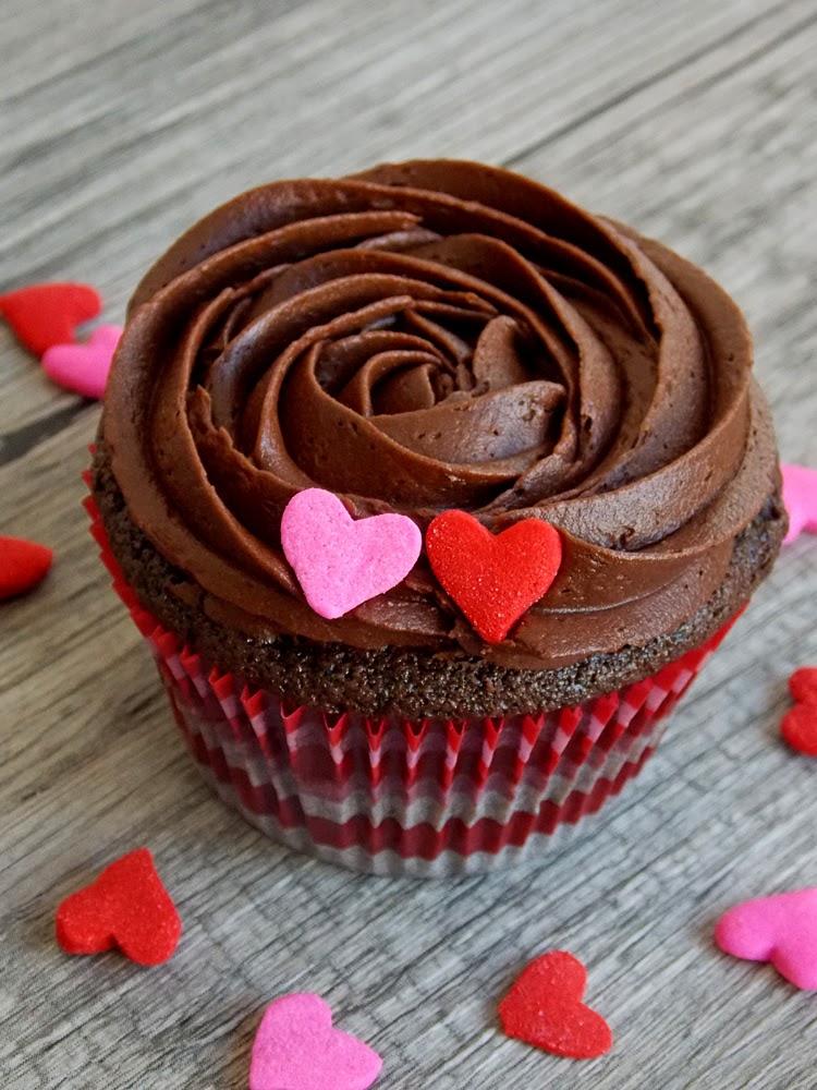 Valentine's Day Dark Chocolate Cupcakes