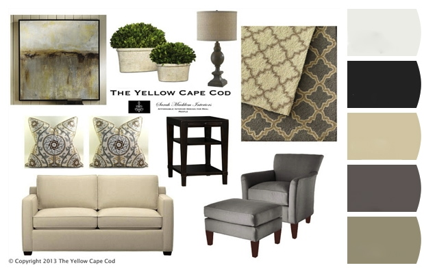 The yellow cape cod clean and calm gray and tan living room for Tan living room ideas
