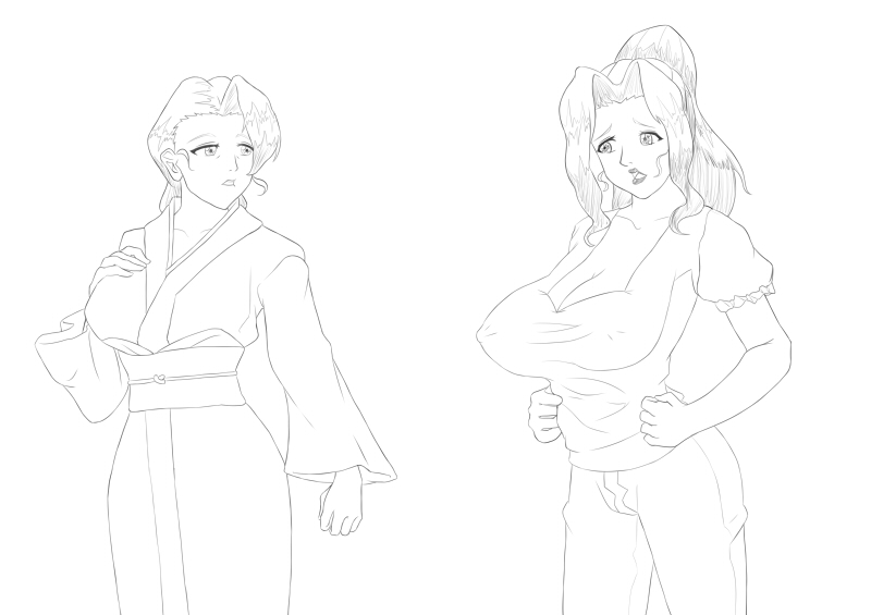 [Lineart] Sumie and Mitsuko from Nikuyome