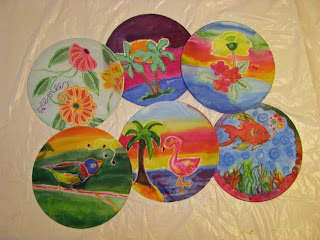 Deborah Younglao silk painting class: finished projects