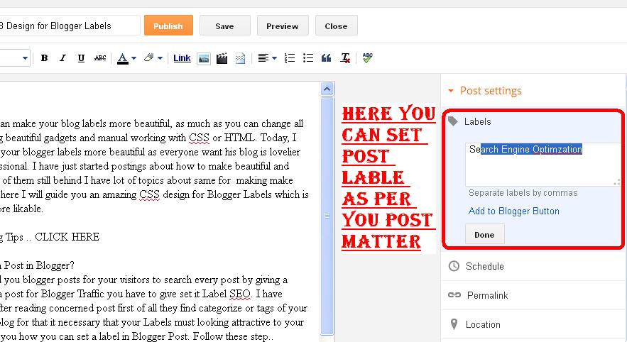 label in blogger