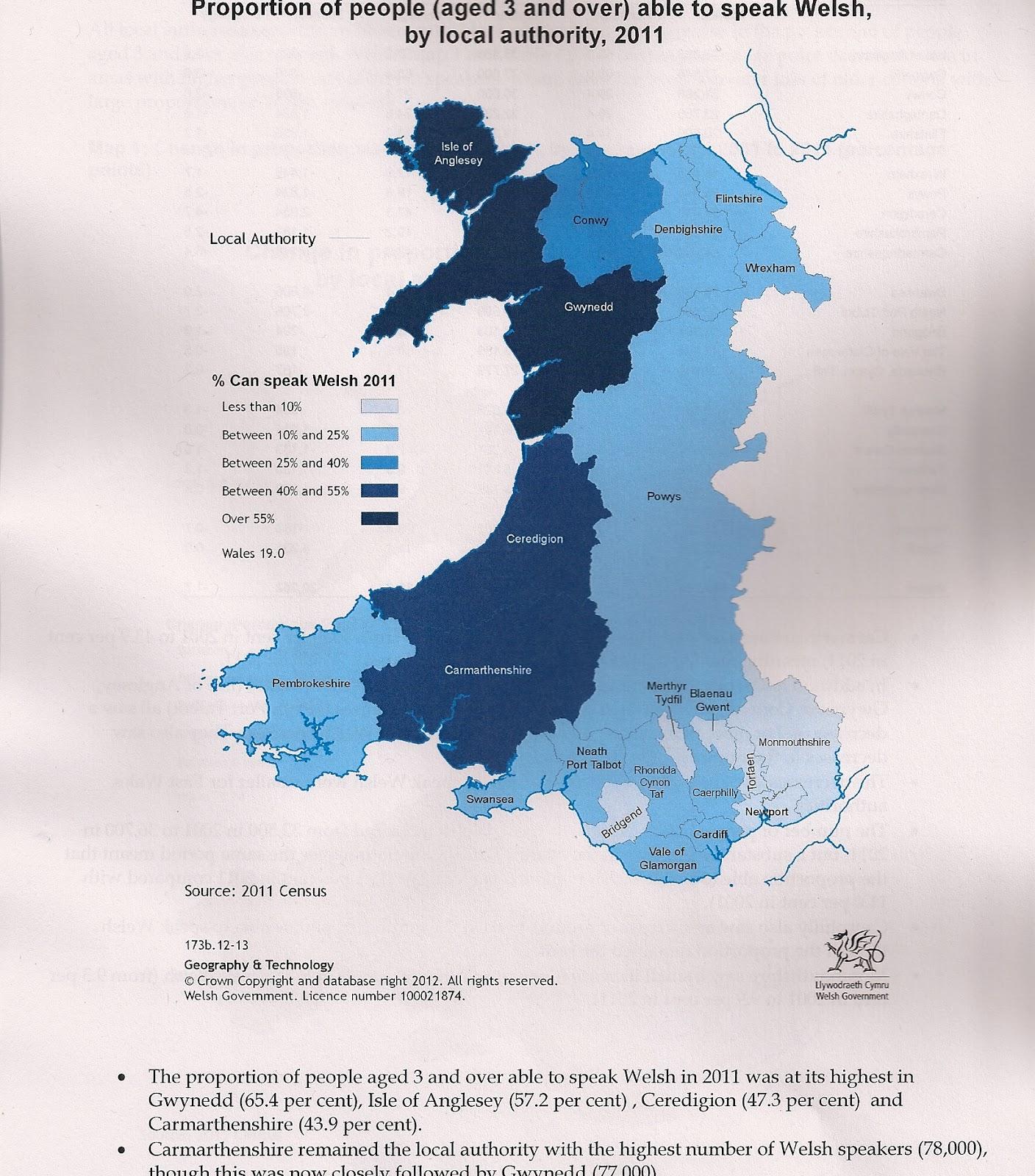 Gareth Hughes Welsh Language Decline - Welsh language map