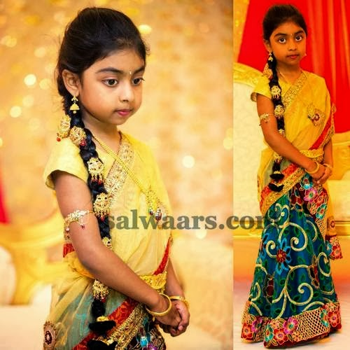 Pretty Kid in Cut Work Half Saree