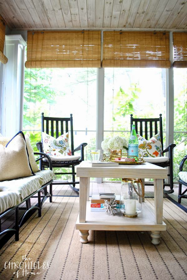 Colorful, chic, contemporary-classic screened porch by The Chronicles of Home