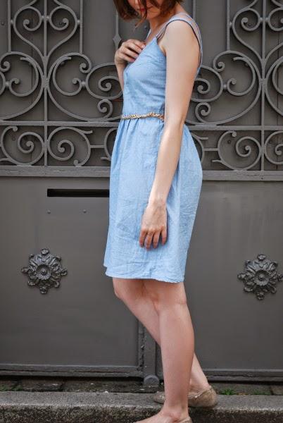 Moun - robe centaurée - chambray à pois