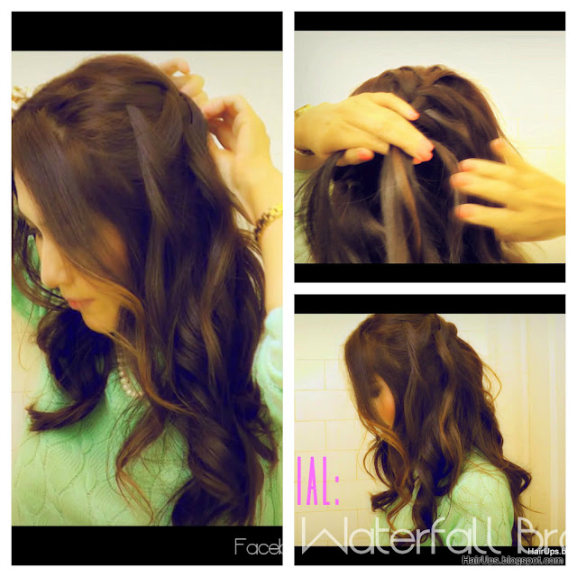 waterfall+pic HOW TO WATERFALL BRAID HAIRSTYLES, FRENCH FISHTAIL BRAID HALF UP UPDO HAIRSTYLE WITH CURLS ON LONG HAIR