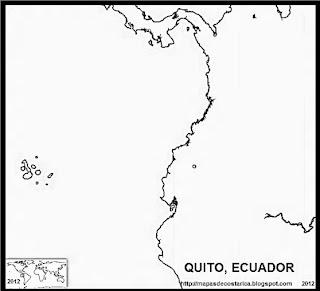 Mapa de QUITO, capital de ECUADOR, blanco y negro