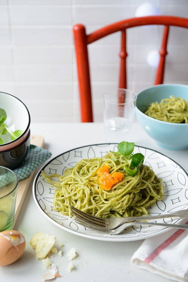 Spaghetti with spinach pesto and soft boiled eggs