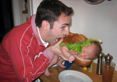 eating baby like burger