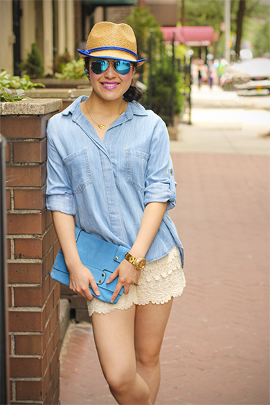 Anthropologie chambray shirt with Loft lace shorts