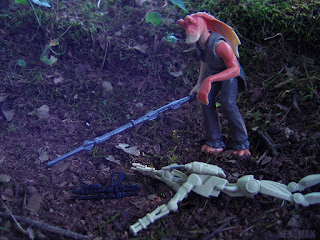 Jar Jar Binks with Gungan Battle Staff The Phantom Menace Episode I 1999 Kenner Hasbro The Force Awakens vintage action figure