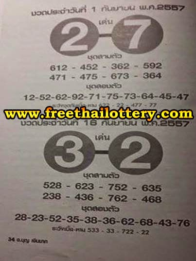 Thai lottery Simple Hot & Touch 16-09-2014