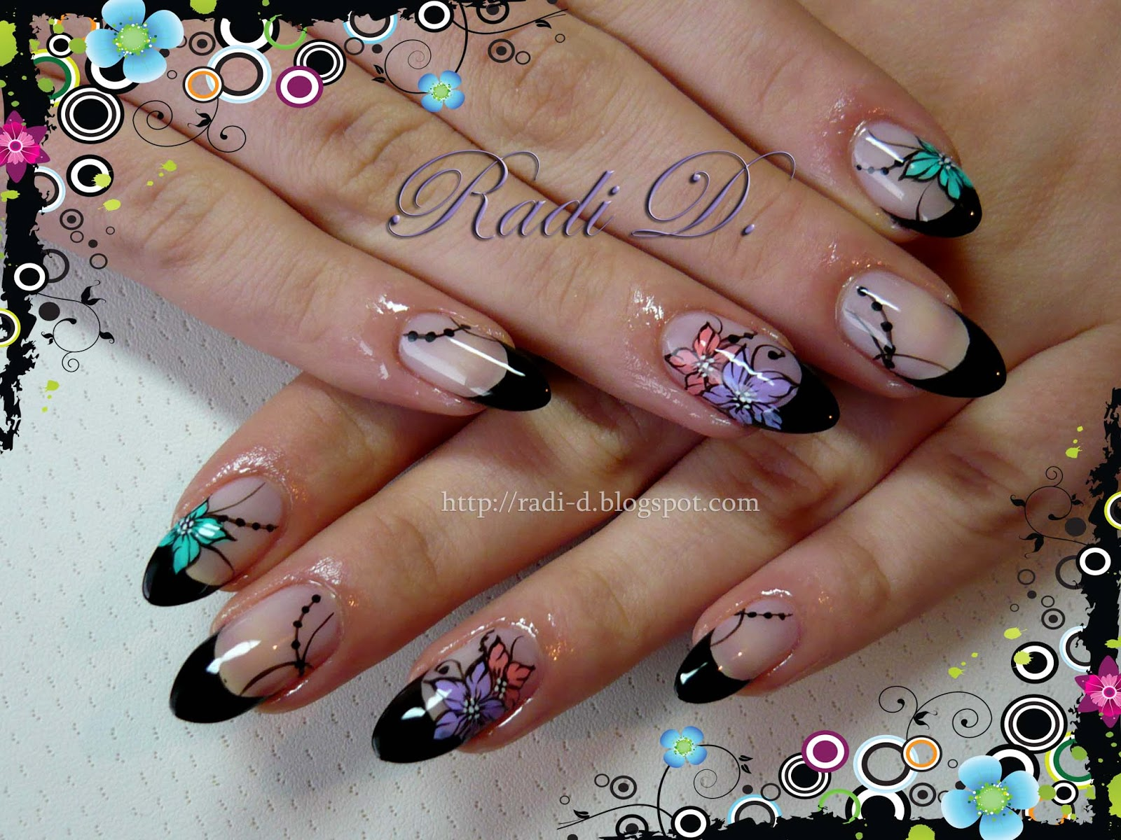 It`s all about nails: Almond Nails- Black French & Flowers