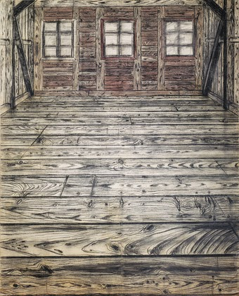 Anselm Kiefer, Wooden Room real wood oil paint charcoal