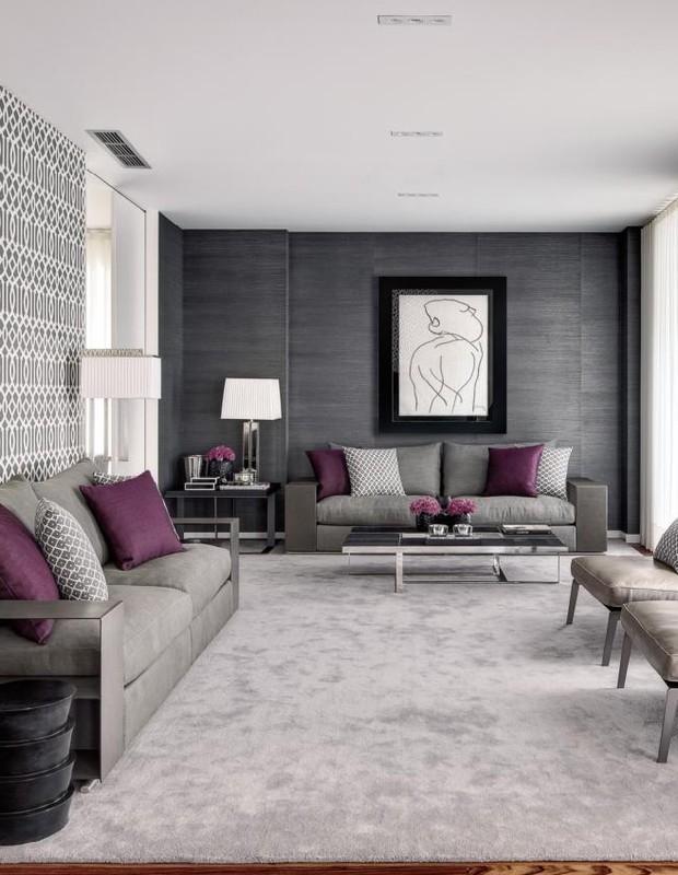 Sala De Estar Cinza E Lilás ~ Decoração de Interiores sala de visitas em tons castanho, branco