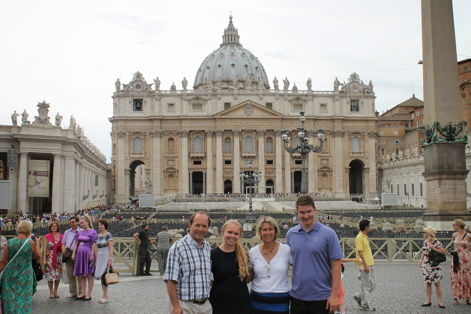 Winey Family in front of St. Peter's Basilica