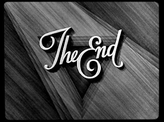 the end, movie titles, black and white movie