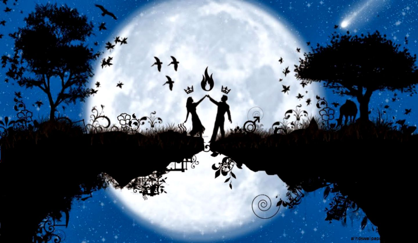 Romantic Love Beautiful Moon Hd Wallpaper All HD Wallpapers