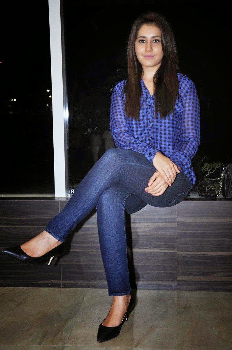 Beautiful Pictures of Rashi Khanna in Jeans at Lakshmi Raave Maa Intiki Telugu Movie Audio Launch