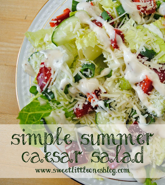 Simple Summer Caesar Salad: romaine lettuce, red peppers, cucumber, green onions, Parmesan cheese, and Caesar salad dressing.  Perfect, easy, delicious.  - www.sweetlittleonesblog.com