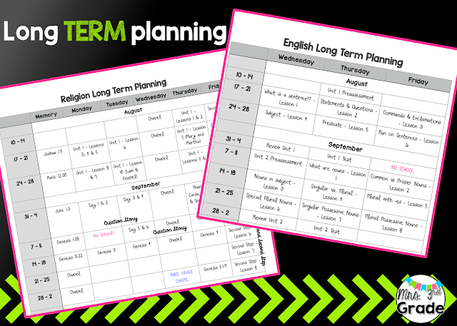 Long Term Planning sheets for the school year