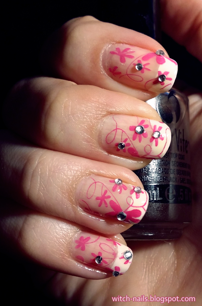 BP-42 BP42 french manicure with pink stamped flowers and rhinestones