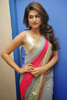Actress Shraddha Das  Picture Gallery in Saree at Rey Movie Teaser Launch  0008.jpg