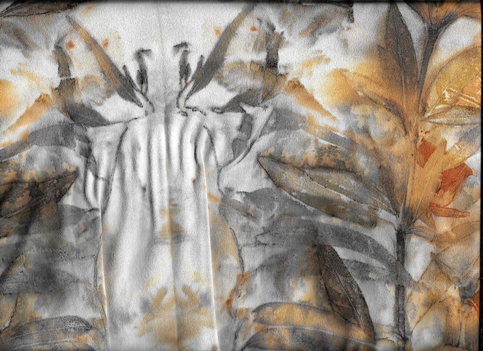 detalhe de ecoprint vestido
