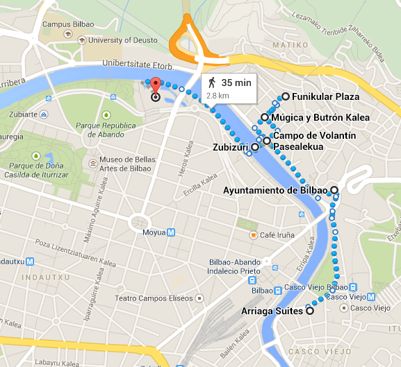 Map of walking route from Arriaga to Guggenheim, Bilbao