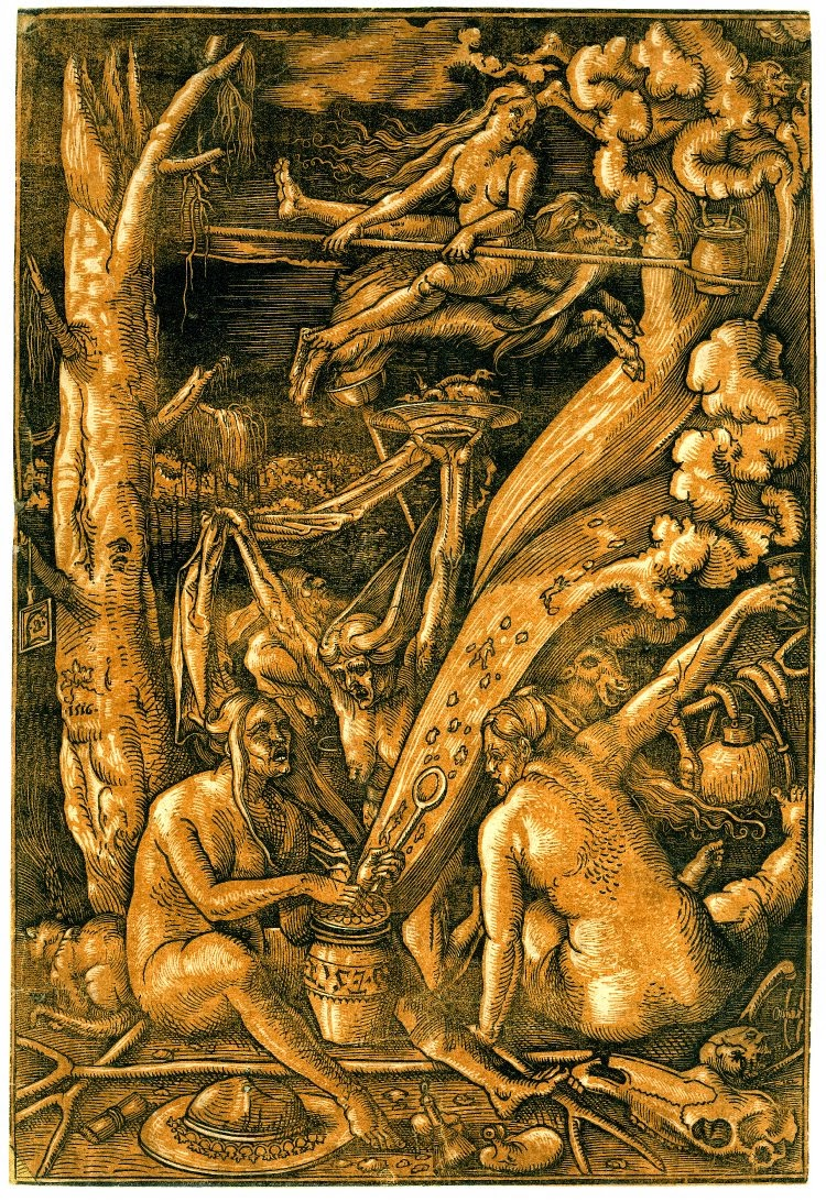 """Witches' Sabbath"" Hans Baldrung Grien (1514), yellow version, tinted, engraving, witches mixing potion, medieval witches sabbat, dark magick"
