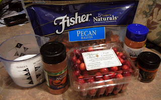 Recipe ingredients for cranberry sauce